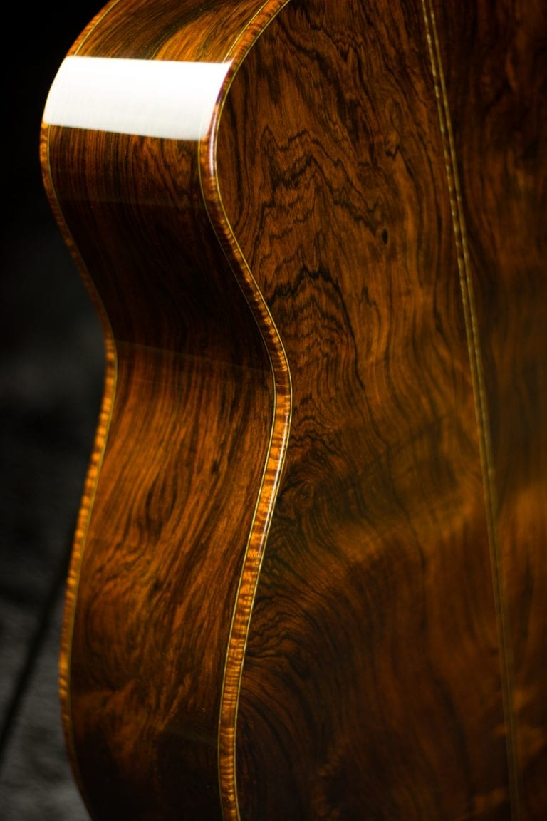 Tom Bills guitar Brazilian rosweood and Koa binding