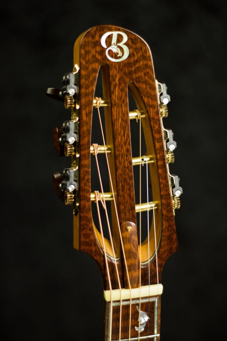 Tom Bills guitar snakewood slotted headstock